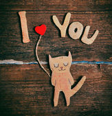 Valentines day card with paper cat in love — Foto de Stock