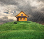 House on a hill in rainy day — Foto Stock