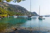 Sailing boats at calm bay — Stock Photo
