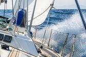Fast sailing cruising yacht at heeling — Stock Photo