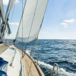 Yacht sail in the Atlantic ocean at sunny day cruise — Stock Photo