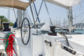 Sailing catamaran helm station — Stock Photo