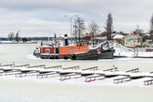 Frozen vessels in the river. Helsinki, Finland — Stock Photo