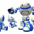 Stock Photo: Three Robots Joined in Unity