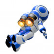 Stock Photo: Robot Robot Rocketeer Flying with Burning Jets