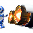 Robot Warming Hands by Jet Engine — Stock Photo #12078493
