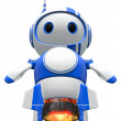 Little Blue Robot Blasting Off - Stock Photo