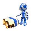 Blue Robot Inspecting Rocket Engines — Stock Photo