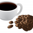 Brewed Coffee in Cup and Coffee Beans Vector Illustration — Stockfoto