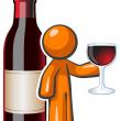 kieliszek do wina człowieka pomarańczowy, czerwony i butelki — Zdjęcie stockowe
