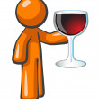 Orange Man with Glass of Wine - Stock Photo