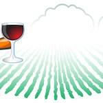 pomarańczowy człowiek winnica wino i butelki — Zdjęcie stockowe