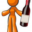 Orange Lady Holding Vintage Wine Bottle Large — Stock Photo