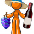 Orange Lady with Vintage Wine Grapes and Hat — Stock Photo