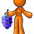 Orange Lady Holding Large Bunch of Grapes — Stock Photo