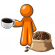 Royalty-Free Stock Photo: Orange Man with Coffee Cup and Coffee Bag