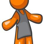 barista pomarańczowy człowiek lub kelner z fartuch — Zdjęcie stockowe