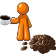Orange Man with Coffee Cup and Coffee Beans — 图库照片