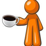 pomarańczowy człowiek kawa filiżanki — Zdjęcie stockowe