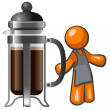 Orange Man with Large French Press — Stock Photo