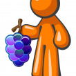 Royalty-Free Stock Photo: Orange Man Holding Grape Bunch