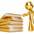 Gold Man by Golden Stack of Books — Stock Photo