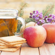 Healthy breakfast with a cup of tea — Stock Photo