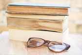 Glasses and books — Stok fotoğraf