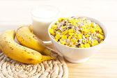 Breakfast milk with bananas — Stock Photo