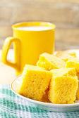 Corn cakes for breakfast — Stock Photo