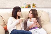 Friends enjoy conversation — Stock Photo
