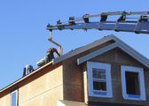 Professional Roofers and Crane — Stock Photo