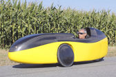 Full Profile of Cyclist in Recumbent Bicycle Car — Stock Photo