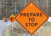 Výstavba dopravního značení — Stock fotografie