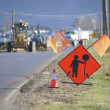 Stock Photo: Road Construction Up Ahead