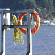 Life Buoy By Choppy Waters — Stock Photo