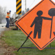 Stock Photo: Road Repair Sign and Crew