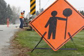 Road Repair Sign and Crew — Stock Photo