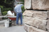 Bricklayers Small Worksite — Stock Photo