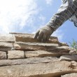 Mason or Bricklayer Setting Stone or Brick — Stock Photo