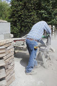 Cutting the Brick — Stock Photo
