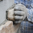 Close on Mason or Bricklayer Hands — Stock Photo