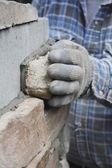 Blisko na ręce mason lub murarz — Zdjęcie stockowe