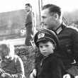 Children with German Nazi Soldier — Stock Photo