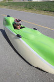 Man and His Velomobile — Stock Photo