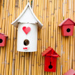 Colorful collection of birdhouses — Stock Photo