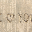 I love you handwritten in sand for natural — Stock Photo