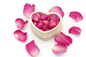 Heart cup and rose petals — Stock Photo
