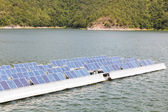Solar panels on the water. — Stock Photo