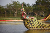 Red Garuda warship floats on the river — Stock Photo